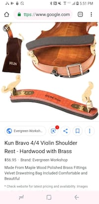 Kun Bravo collapsible shoulder rest for Violin Fountain Valley, 92708