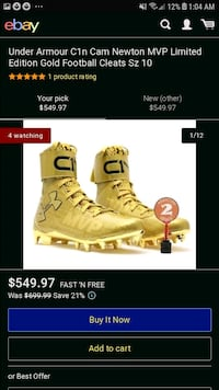 Limited edition cam newton cleats  Shenandoah, 51601