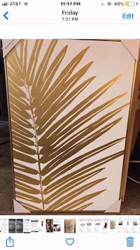 gold foil palm leaves canvas  Olney