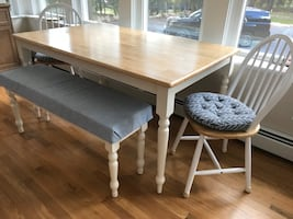 Solid oak table-bench&chairs