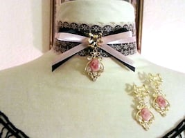 Handmade Cameo Lace & Ribbon Choker Necklace & Earrings