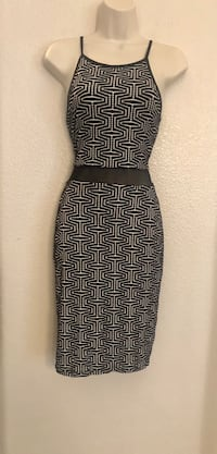 NWOT olive Tree body con dress w/ sheer mid section.