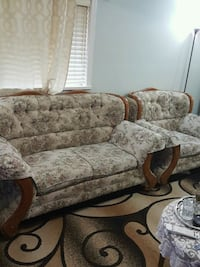 brown and beige floral 3-seat sofa 3727 km