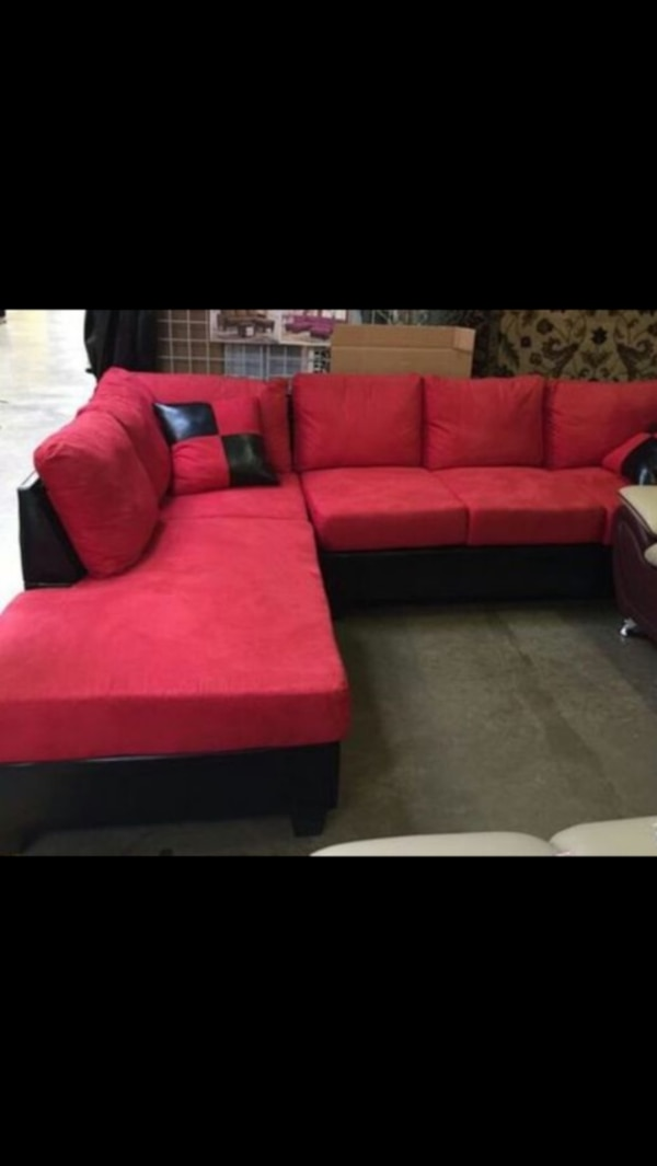 Black and red sectional sofa