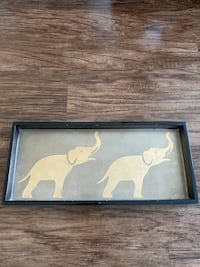 Wood Tray with Gold Leaf Elephant Painting Alexandria, 22301