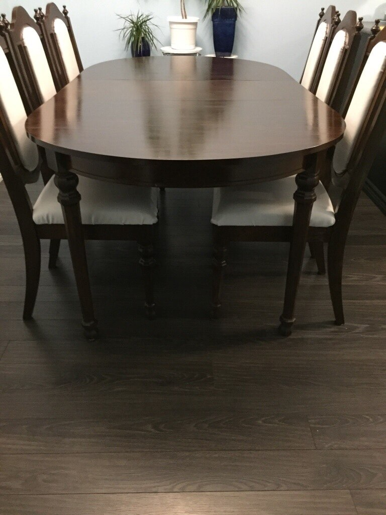 used seven piece oval brown wooden dining table and six chairs for rh gb letgo com