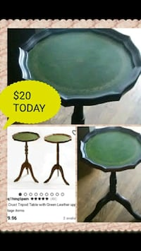 Beautiful Antique Table With Leather Top