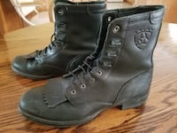 Black Leather Ariat Lace Up Boots 7.5M Omaha, 68137