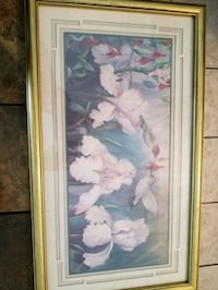 white petaled flower painting with brown wooden fr Cataula, 31804