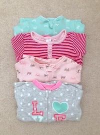 4 baby girl sleepers size 12-18 months- worn only a couple of times Mississauga, L5M 0C5