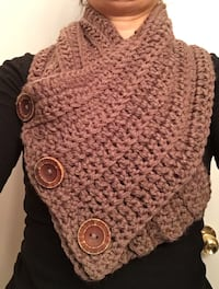 women's brown knitted scarf