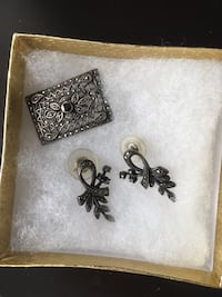 Antique Costume Jewelry Earrings + Pin Charlotte