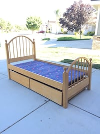"""Twin Bed Frame with Storage Drawers and Bunkie Board 41x81x49"""" Wildomar, 92595"""