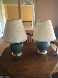 Two white and gray table lamps