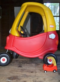 yellow and red Little Tikes cozy coupe 554 km