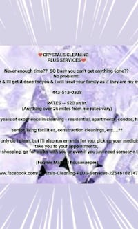 Crystal's Cleaning PLUS Services Willards, 21874