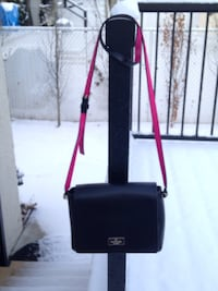 Authentic Kate Spade Black Hot Pink Leather Crossbody Handbag Purse.