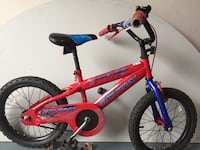 Toddler's red and blue bicycle