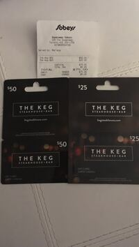 $50 and $25 the keg gift cards