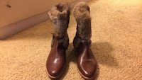 Gray sheepskin fur brown leather calf length boots Temple Hills