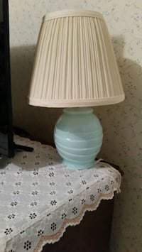 Small mint green table lamp with shade Bunker Hill, 25413