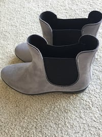 pair of gray suede Chelsea booties Burnaby, V5C 3J8