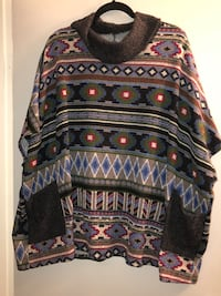 Plus size 1X to 3X unique & cozy oversized poncho with 2 front pockets
