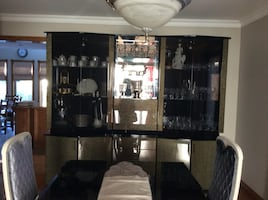 Gorgeous lacquer dining hutch black imported from italy