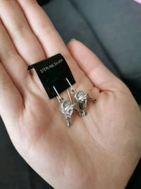 Silver horse saddle earrings