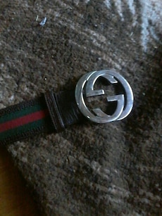 green ,red and black leather Gucci belt