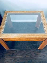 rectangular brown wooden framed glass top coffee table Falls Church, 22041