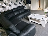 black leather sectional sofa with ottoman Mansfield, NG18