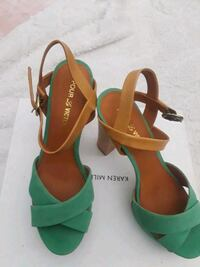 pair of green-and-brown leather heels Brooklyn, 11207