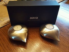 2 tealight  stainless steel candle holders