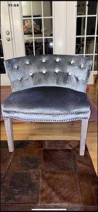 Reflective beautiful unique gray velvet lounge chair ( set of two ) Vienna, 22182