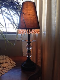Small accent lamp black metal with black shade and beads . Brossard, J4Y 2Z6