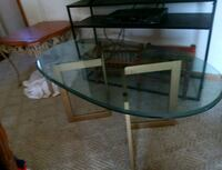 black metal framed glass top TV stand South Saint Paul, 55075