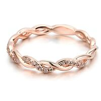 Rose Gold Plated Twisted Cubic Zirconia Studded Ring Toronto, M6S
