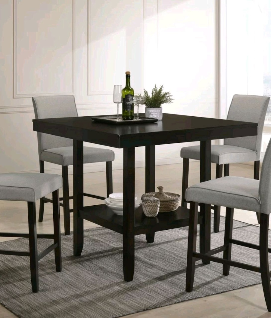 Solid Wood Espresso Dinning Table Set