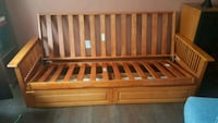 HEAVY SOLID WOOD FUTON FRAME WITH 2 DRAWERS! Frederick