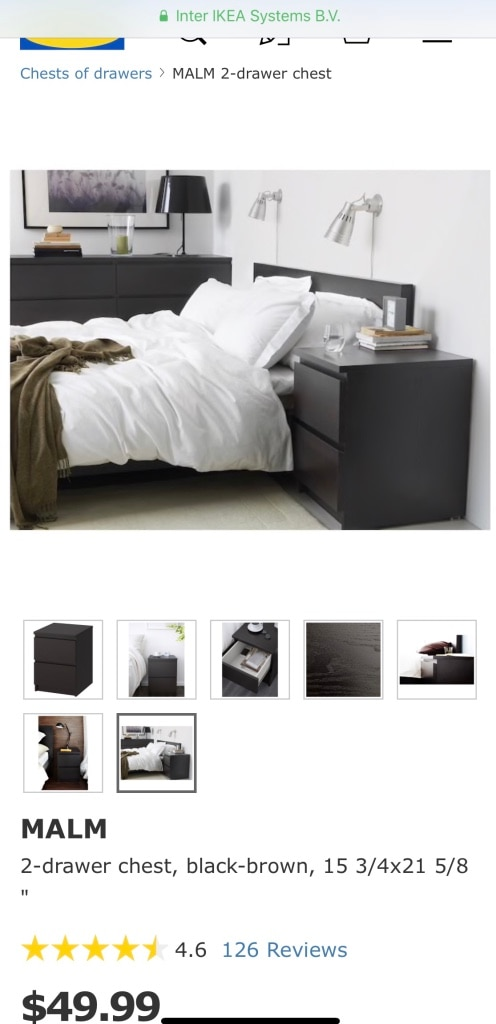 used ikea malm black bedside 2 drawer chest glass top for sale in rh us letgo com