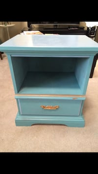 Light blue and gold shabby chic painted nightstand