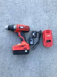 Black and Decker 18v drill+2 batteries+charger