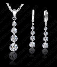 4-Stone Crystal Sterling Silver Pendant Jewelry Set Vancouver, 98687
