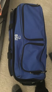 Blue and black bowling bag with 2 bowling balls and bowling shoes Clinton, 20735