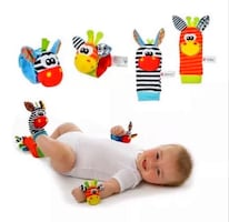 Baby Infant soft toy wrist rattles foots finders developmental