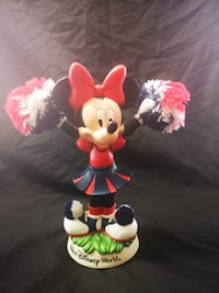 Walt Disney World Minnie Mouse Cheerleader Bobblehead With Red White Blue Pom Poms