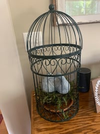 Decorative bird cage with two doves