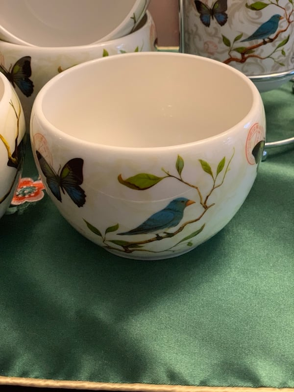 Cypress Home 12 pieces ceramic cups, bowls and spoons &folks stand b1b5eb35-5512-42e2-b56e-9a6ee8ad9260