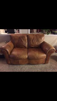 brown leather 3-seat sofa Beaumont, 92223